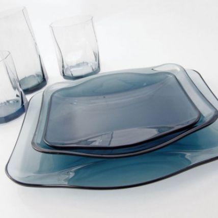 Đĩa thủy tinh vuông Nettuno Blue 28 màu xanh (Bormioli Rocco) - 2