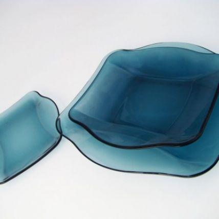 Đĩa soup thủy tinh vuông Nettuno Blue 22 màu xanh (Bormioli Rocco) - 3