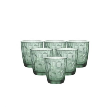 Bộ 6 ly thủy tinh Diamond 30cl - xanh lá (Bormioli Rocco) - 1