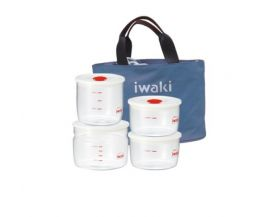 Bộ 4 hộp cơm thuỷ tinh Iwaki kèm túi giữ nhiệt màu xám