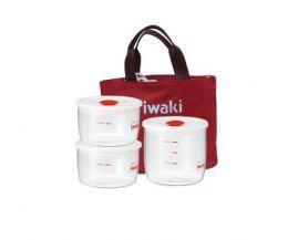 Bộ 3 hộp cơm thuỷ tinh Iwaki kèm túi giữ nhiệt màu đỏ