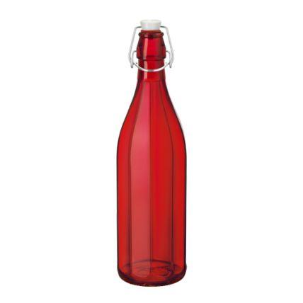 Chai thủy tinh nắp cài Oxford 1L - màu đỏ (Bormioli Rocco) - 1