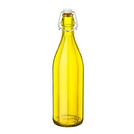 Chai thủy tinh nắp cài Oxford 1L - màu vàng (Bormioli Rocco) - 1