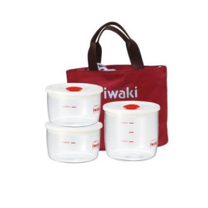 Bộ 3 hộp cơm thuỷ tinh Iwaki kèm túi giữ nhiệt màu đỏ - 1