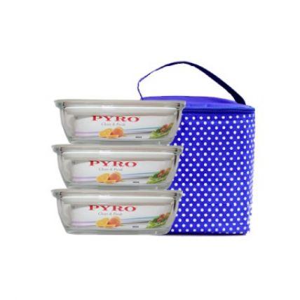 Bộ 3 hộp thuỷ tinh Pyro 400ml kèm túi giữ nhiệt - 1