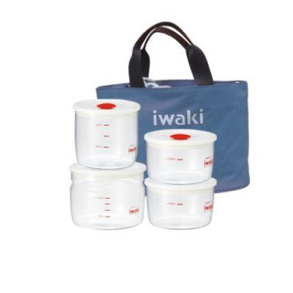 Bộ 4 hộp cơm thuỷ tinh Iwaki kèm túi giữ nhiệt màu xám - 1