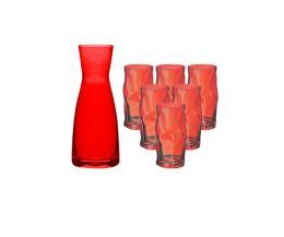Combo bình ly thủy tinh màu đỏ Ypsilon-Sorgente (Bormioli Rocco)