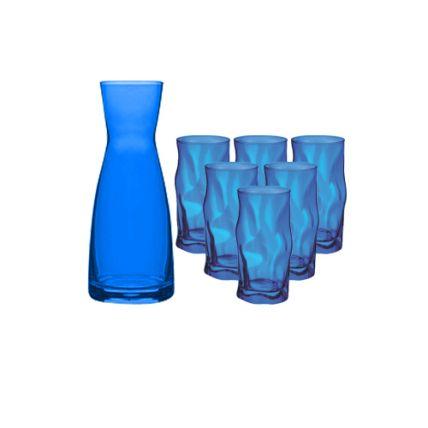 Combo bình ly thủy tinh màu xanh biển Ypsilon-Sorgente (Bormioli Rocco) - 1