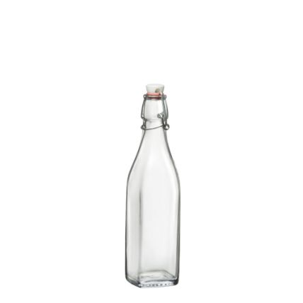 Chai thủy tinh vuông nắp cài Swing 0.5L (Bormioli Rocco) - 1