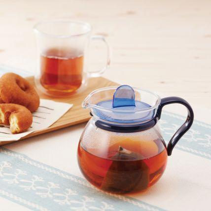 Bình trà thủy tinh Iwaki 400ml - xanh dương - 3