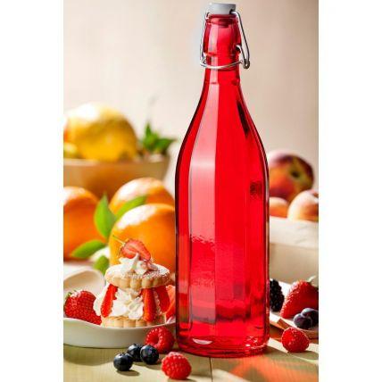 Chai thủy tinh nắp cài Oxford 1L - màu đỏ (Bormioli Rocco) - 2