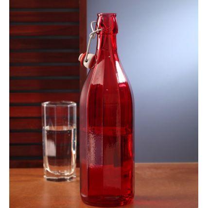 Chai thủy tinh nắp cài Oxford 1L - màu đỏ (Bormioli Rocco) - 4