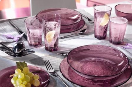 Combo 6 đĩa thủy tinh Hya Purple - màu tím