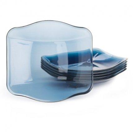 Combo 6 đĩa thủy tinh Nettuno Blue 19 - màu xanh