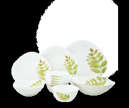 Bộ chén đĩa thủy tinh vuông tròn Diva Ivory A.S 12 món (La Opala)
