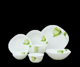 Bộ chén đĩa thủy tinh vuông tròn Diva Ivory I.B 12 món (La Opala)