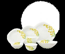 Bộ chén đĩa thủy tinh vuông tròn Diva Ivory Y.G 12 món (La Opala)