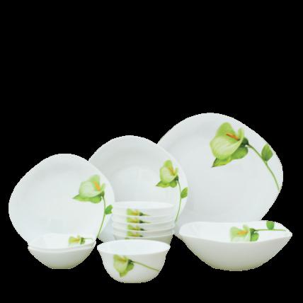 Bộ chén đĩa thủy tinh vuông tròn Diva Ivory I.B 12 món (La Opala) - 1