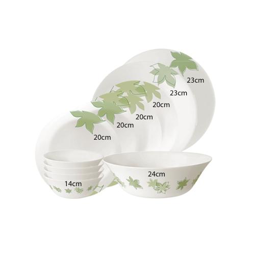 Bộ chén đĩa thủy tinh Moon Dream Green 11 món - Bormioli