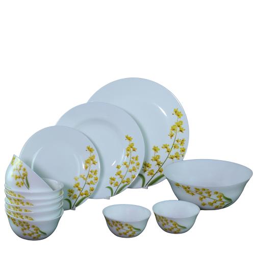 Bộ chén đĩa thủy tinh Diva Ivory Y.G 10 món (La Opala)