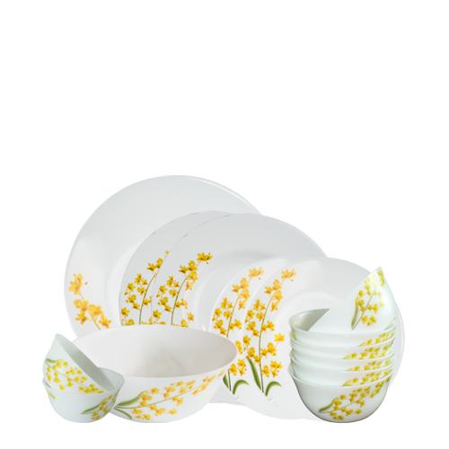 Bộ chén đĩa thủy tinh Diva Ivory Y.G 14 món (La Opala)