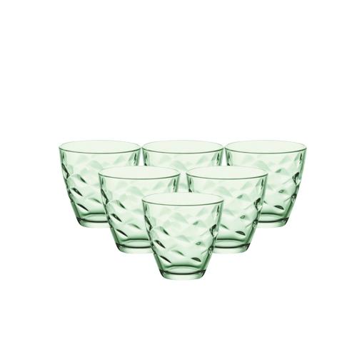 Bộ 6 ly thủy tinh Flora 26cl - xanh lá (Bormioli Rocco)