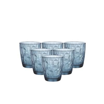 Bộ 6 ly thủy tinh Diamond 30cl - xanh biên (Bormioli Rocco)